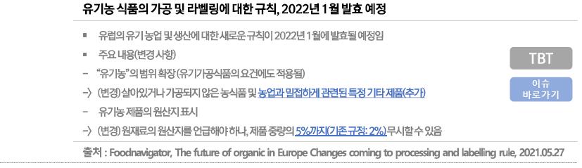 [비관세장벽이슈] EU, 《유기농 식품의 생산 및 라벨링에 대한 규정》 2022년 1월 발효 예정